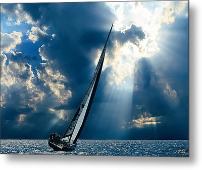 Sailing Boats At Sea , Photography , Metal Print