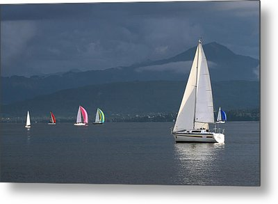 Sailing Boats By Stormy Weather, Geneva Lake, Switzerland Metal Print