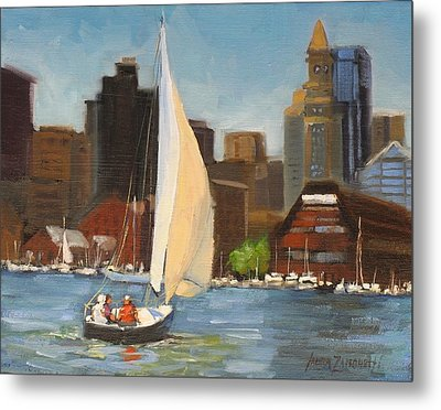 Sailing Boston Harbor Metal Print by Laura Lee Zanghetti