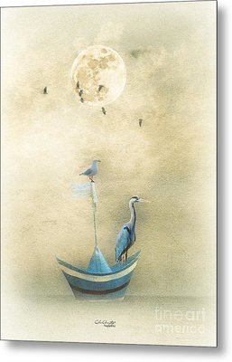 Sailing By The Moon Metal Print