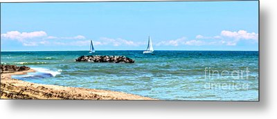 Sailing Days On Lake Erie Panorama Metal Print by Randy Steele