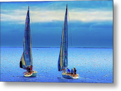 Sailing In The Blue Metal Print