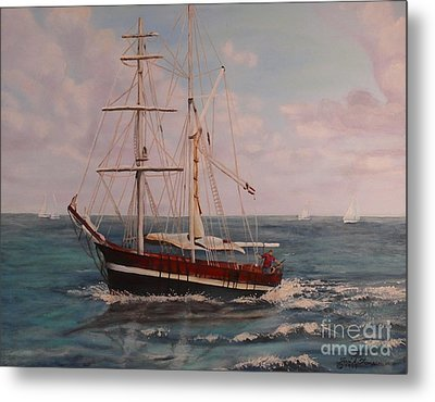 Metal Print featuring the painting Sailing In The Caribean by Terri Thompson