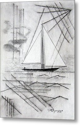 Sailing In The City Harbor Metal Print by J R Seymour