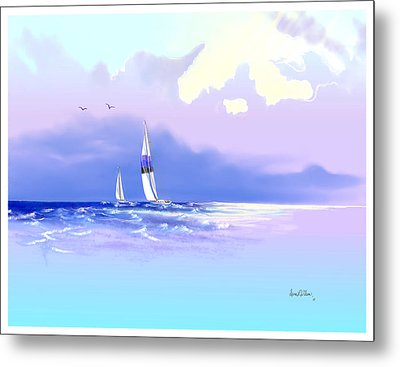 Metal Print featuring the painting Sailing Into The Blue by Sena Wilson