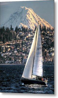 Sailing On Elliot Bay, Seattle, Wa Metal Print by Greg Sigrist