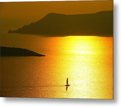 Metal Print featuring the photograph Sailing On Gold 1 by Ana Maria Edulescu