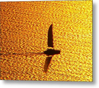 Metal Print featuring the photograph Sailing On Gold by Ana Maria Edulescu
