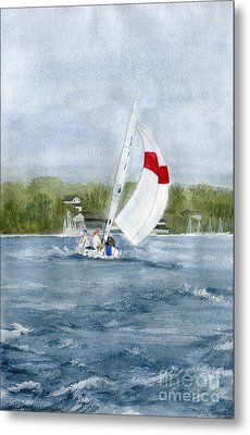 Metal Print featuring the painting Sailing On Niagara River by Melly Terpening