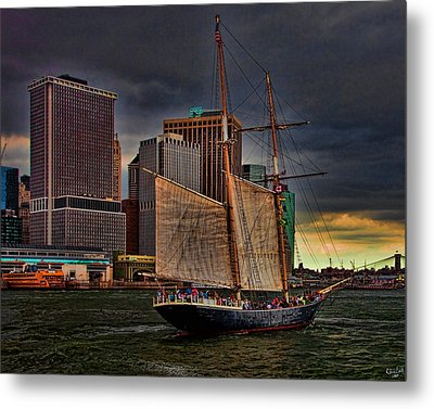 Sailing On The East River Metal Print by Chris Lord