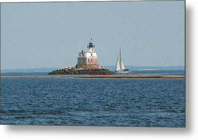 Sailing Penfield Lighthouse Metal Print by Margie Avellino