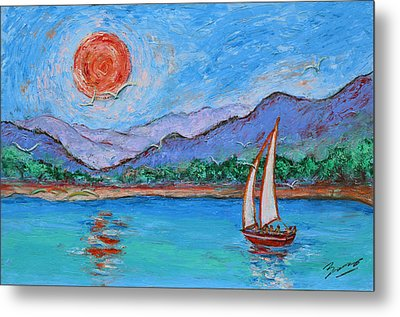 Metal Print featuring the painting Sailing Red Sun by Xueling Zou