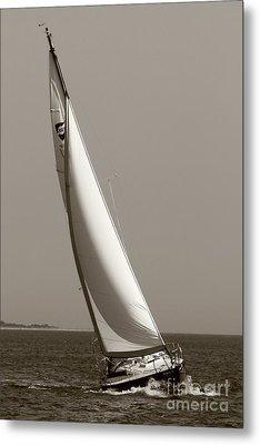 Sailing Sailboat Sloop Beating To Windward Metal Print by Dustin K Ryan