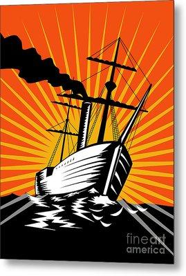 Sailing Ship Retro Woodcut Metal Print by Aloysius Patrimonio