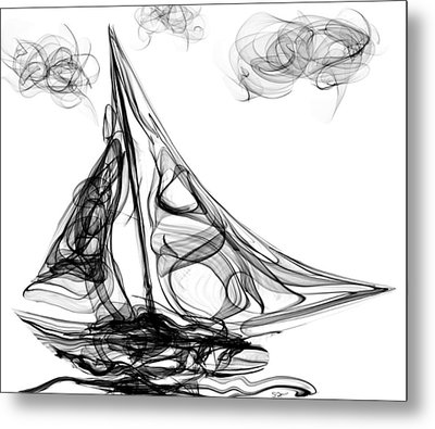 Sailing Through Voodoo, Struggles And Life's Storms Metal Print by Abstract Angel Artist Stephen K