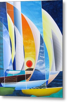 Metal Print featuring the painting Sailing Till Sunset by Douglas Pike
