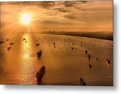 Sailing Towards The Ray Of Gold Metal Print by Joseph Goh Meng Huat