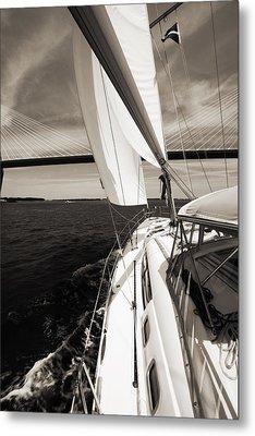 Sailing Under The Arthur Ravenel Jr. Bridge In Charleston Sc Metal Print
