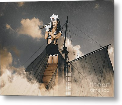 Sailor Pinup Girl On Lookout From Ships Crows-nest Metal Print by Jorgo Photography - Wall Art Gallery