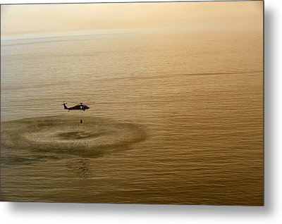 Sailors Fill A Bambi Bucket  Us Navy Metal Print by Celestial Images