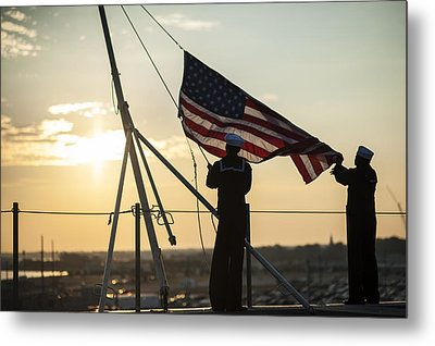 Sailors Raise The Ensign Us Navy Metal Print by Celestial Images