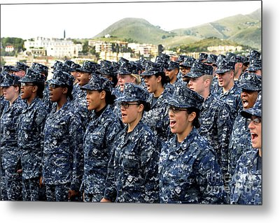 Sailors Yell Before An All-hands Call Metal Print by Stocktrek Images