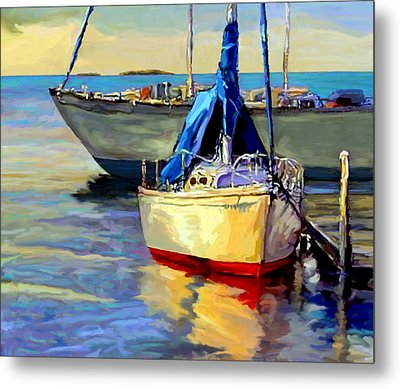 Metal Print featuring the painting Sails At Rest by David  Van Hulst