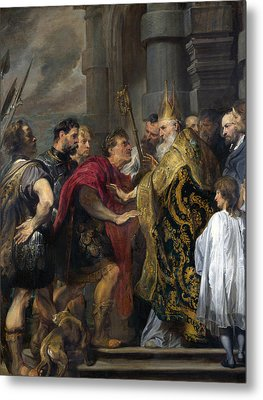 Saint Ambrose Barring Theodosius I From Milan Cathedral Metal Print by Anthony van Dyck