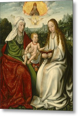 Saint Anne With The Virgin And The Christ Child Metal Print by Master Of Frankfurt