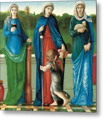 Saint Barbara And Saint Dorothy With Saint Agnes Metal Print
