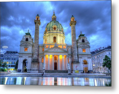 Saint Charles's Church At Karlsplatz In Vienna, Austria, Hdr Metal Print
