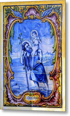 Saint Christopher Carrying The Christ Child Across The River - Near Entrance To The Carmel Mission Metal Print
