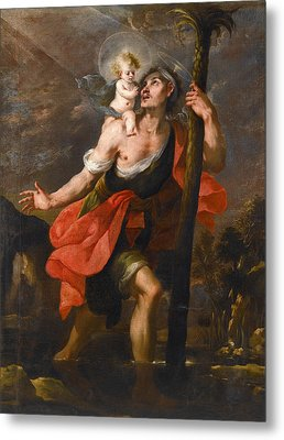 Saint Christopher Carrying The Christ Child Metal Print