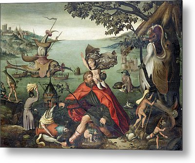 Saint Christopher Carrying The Christ Child Through A Sinful World Metal Print