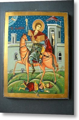 Saint Demeter St. Demetrios St. Dmitry Hand Painted Orthodox Holy Icon Metal Print by Denise Clemenco