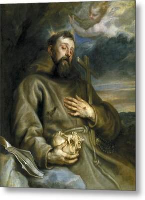 Saint Francis Of Assisi In Ecstasy Metal Print by Anthony van Dyck
