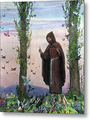 Saint Francis Of Assisi Preaching To The Birds Metal Print by German School