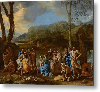 Saint John Baptizing In The River Jordan Metal Print by Nicolas Poussin