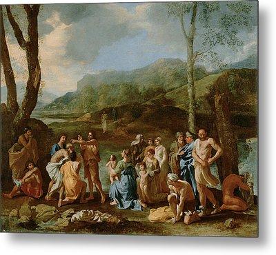 Saint John Baptizing In The River Metal Print by Nicolas Poussin