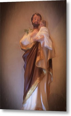 Saint Joseph Holding Baby Jesus Metal Print by Donna Kennedy