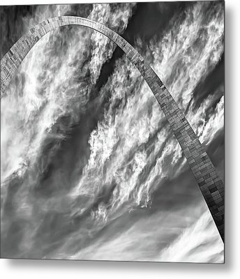 Metal Print featuring the photograph Saint Louis Arch And Clouds Right Black And White 1x1 by Gregory Ballos