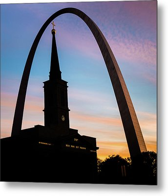 Metal Print featuring the photograph Saint Louis Cathedral And Arch Morning Silhouettes by Gregory Ballos