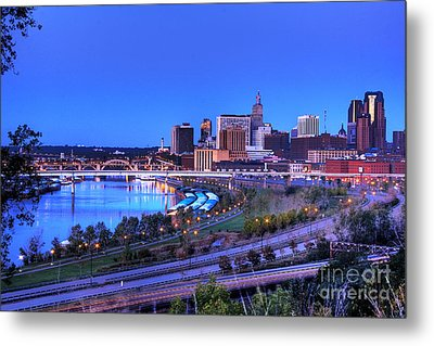 Saint Paul Minnesota Skyline Blue Morning Light Metal Print