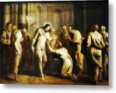 Saint Thomas Touching Christ's Wounds Metal Print by Bill Cannon
