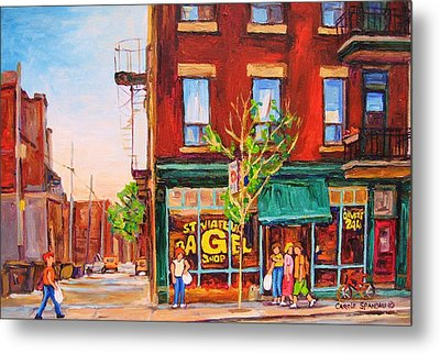 Metal Print featuring the painting Saint Viateur Bagel by Carole Spandau