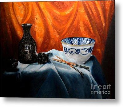 Sake And Orange Silk Metal Print by Mary Datum