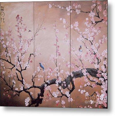 Sakura - Cherry Trees In Bloom Metal Print by Sorin Apostolescu
