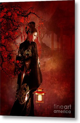 Sakura Red Metal Print by Shanina Conway