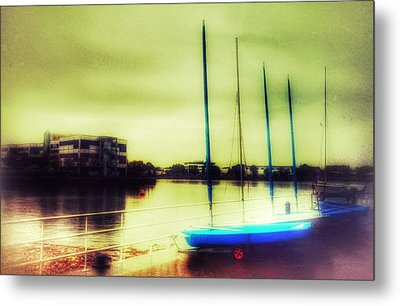 Metal Print featuring the photograph Salford Quays Boats Waiting by Isabella F Abbie Shores FRSA