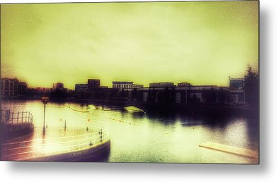 Metal Print featuring the photograph Salford Quays Promenade by Isabella F Abbie Shores FRSA